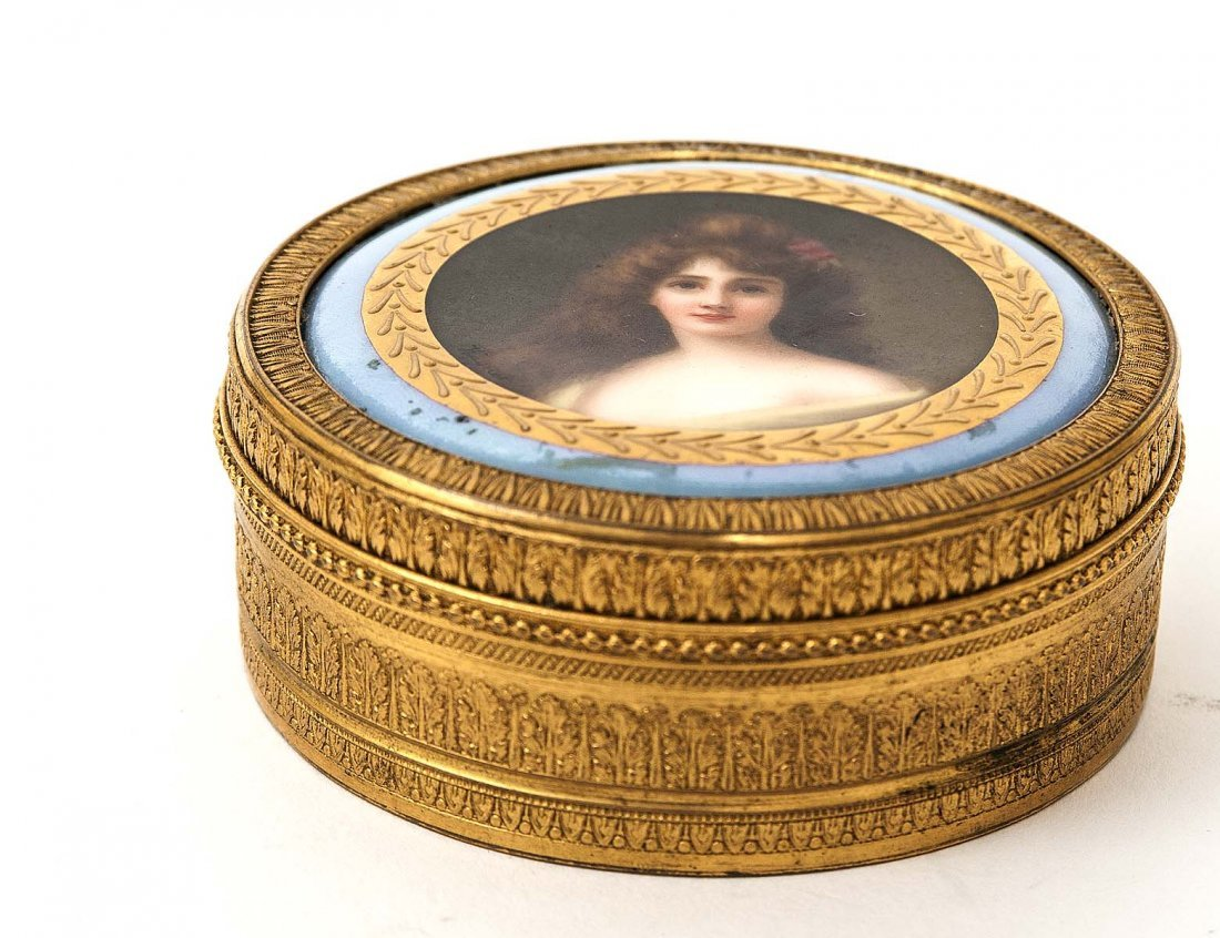 BRASS AND PORCELAIN JEWELRY BOX