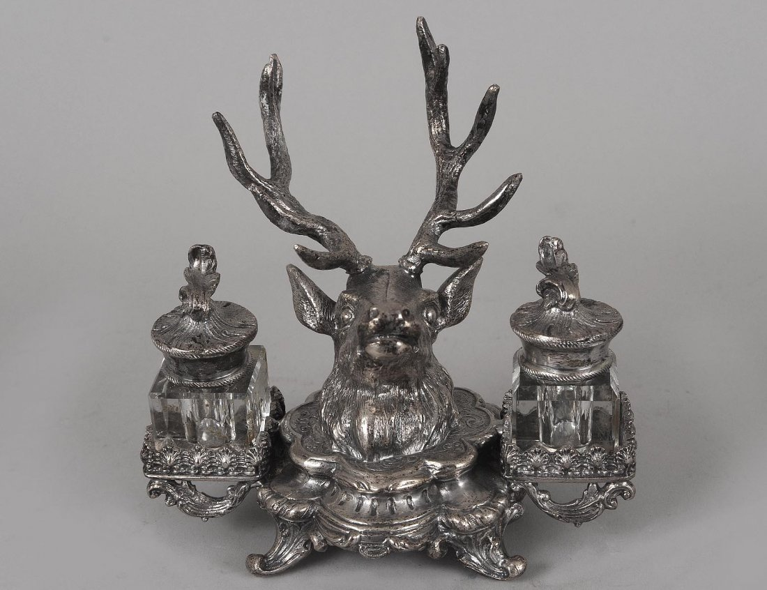 SILVERED METAL INK STAND