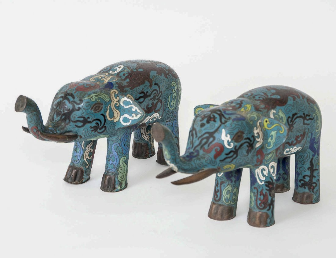 PAIR OF CLOISONNE ENAMEL FIGURES OF ELEPHANTS