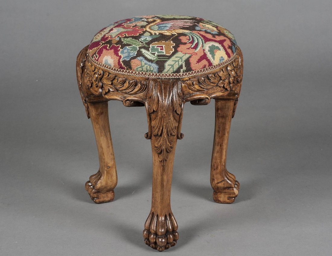 BAROQUE STYLE CARVED PINE STOOL