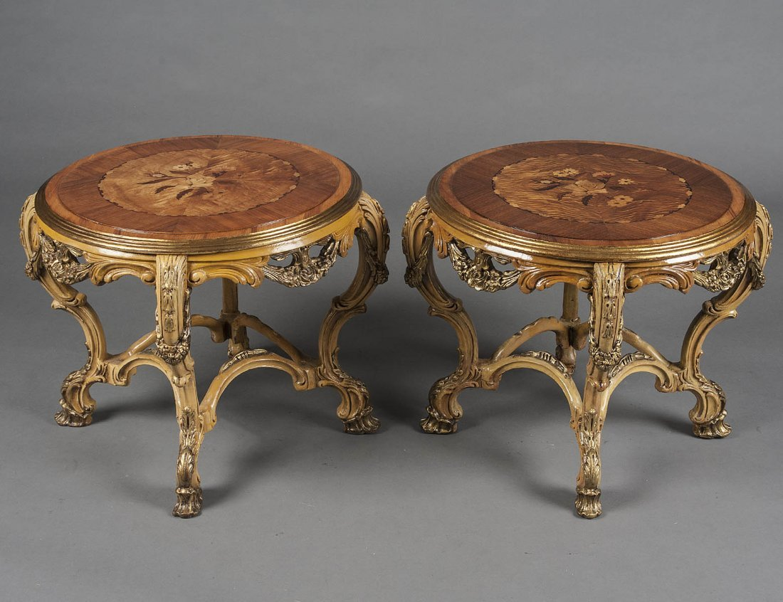 PAIR OF INLAID FRUITWOOD LOW TABLES