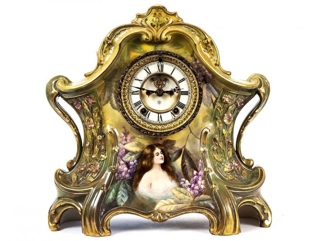 ANSONIA FAIENCE MANTEL CLOCK