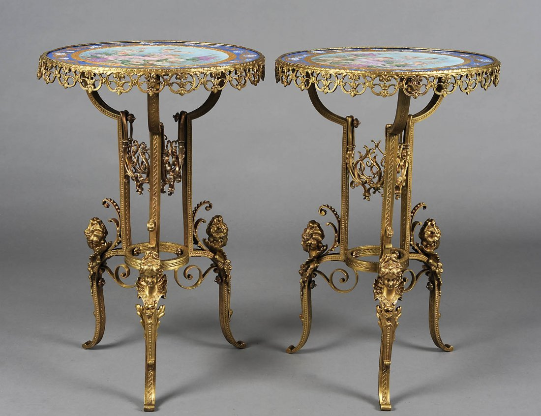 """VERY FINE PAIR OF GILT BRONZE AND """"SEVRES"""" PORCELAIN SI"""