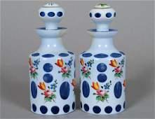 PAIR OF WHITE OVERLAY BLUE GLASS SCENT BOTTLES