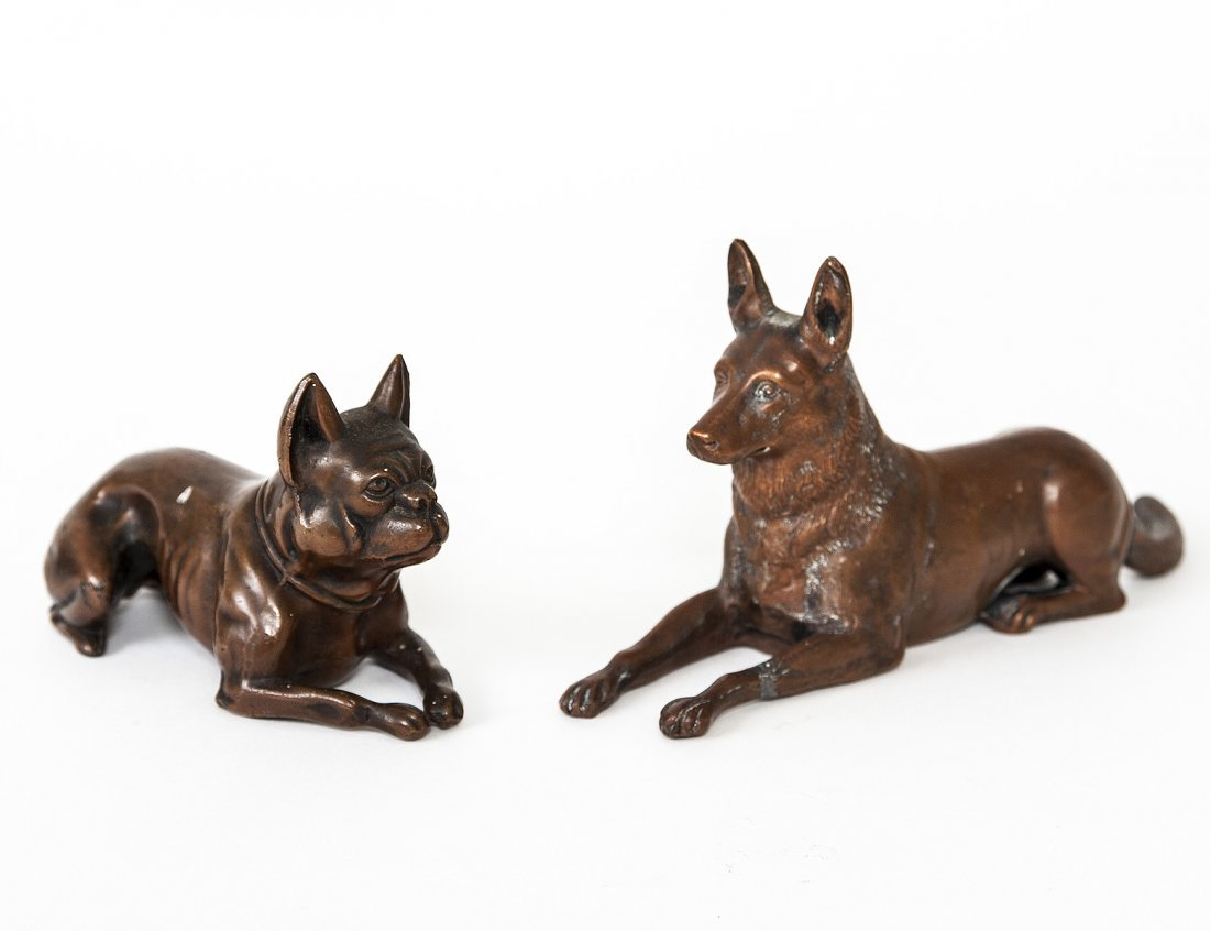 TWO METAL FIGURES OF DOGS