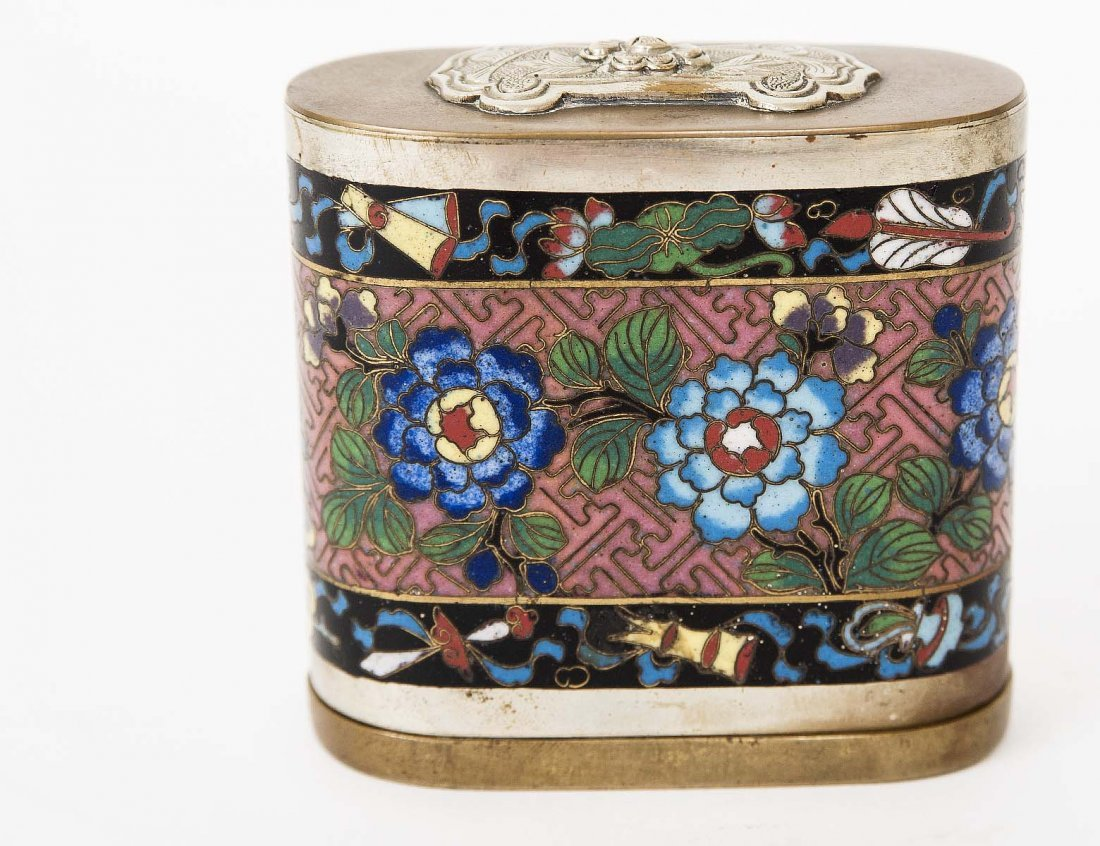 CLOISONNE ENAMEL AND BRONZE BOX AND COVER