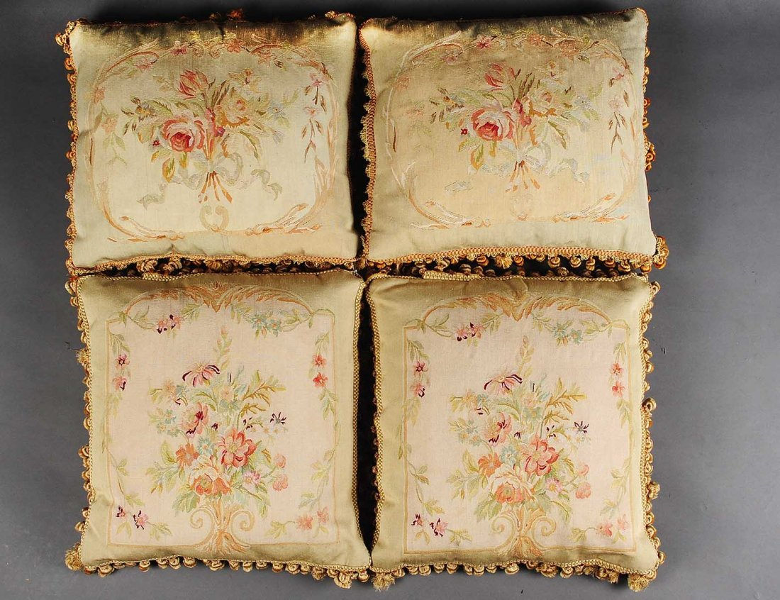 SET OF FOUR DECORATIVE TAPESTRY PILLOWS