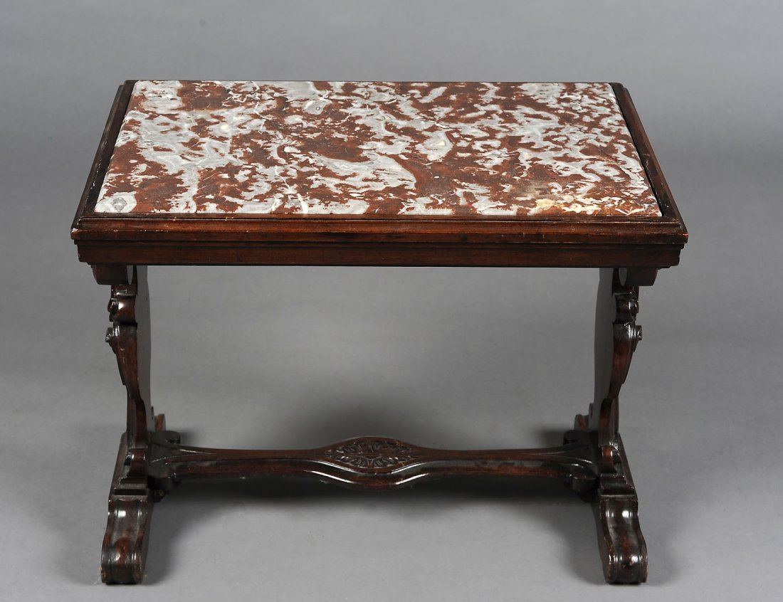 BAROQUE STYLE CARVED WALNUT SIDE TABLE