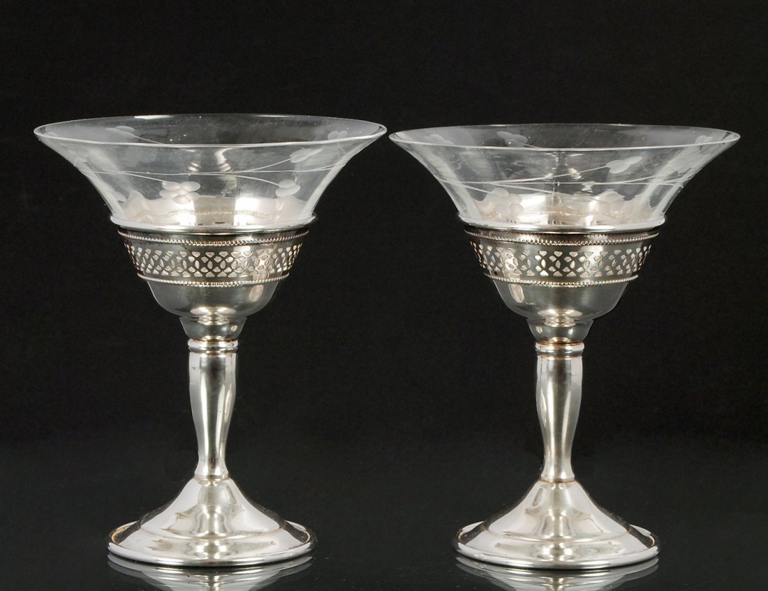 PAIR OF CARTIER STERLING SILVER AND GLASS SHERBETS