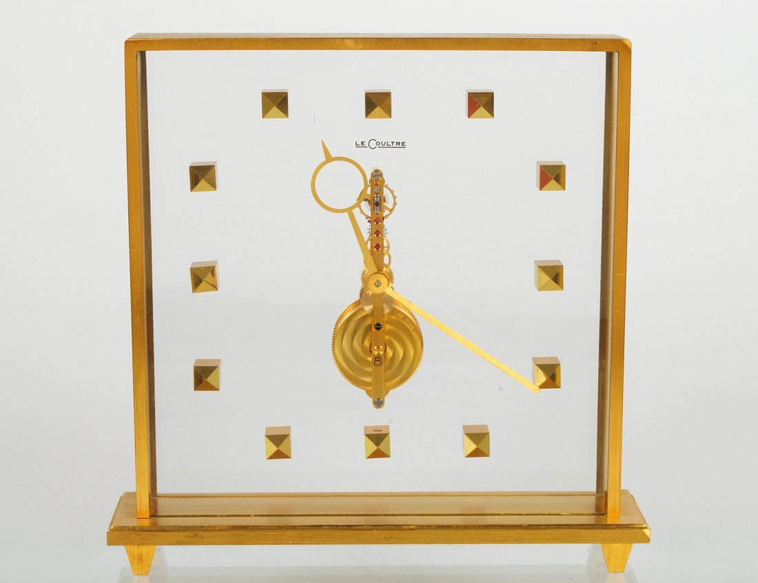 LE COULTRE BRASS AND GLASS DESK CLOCK
