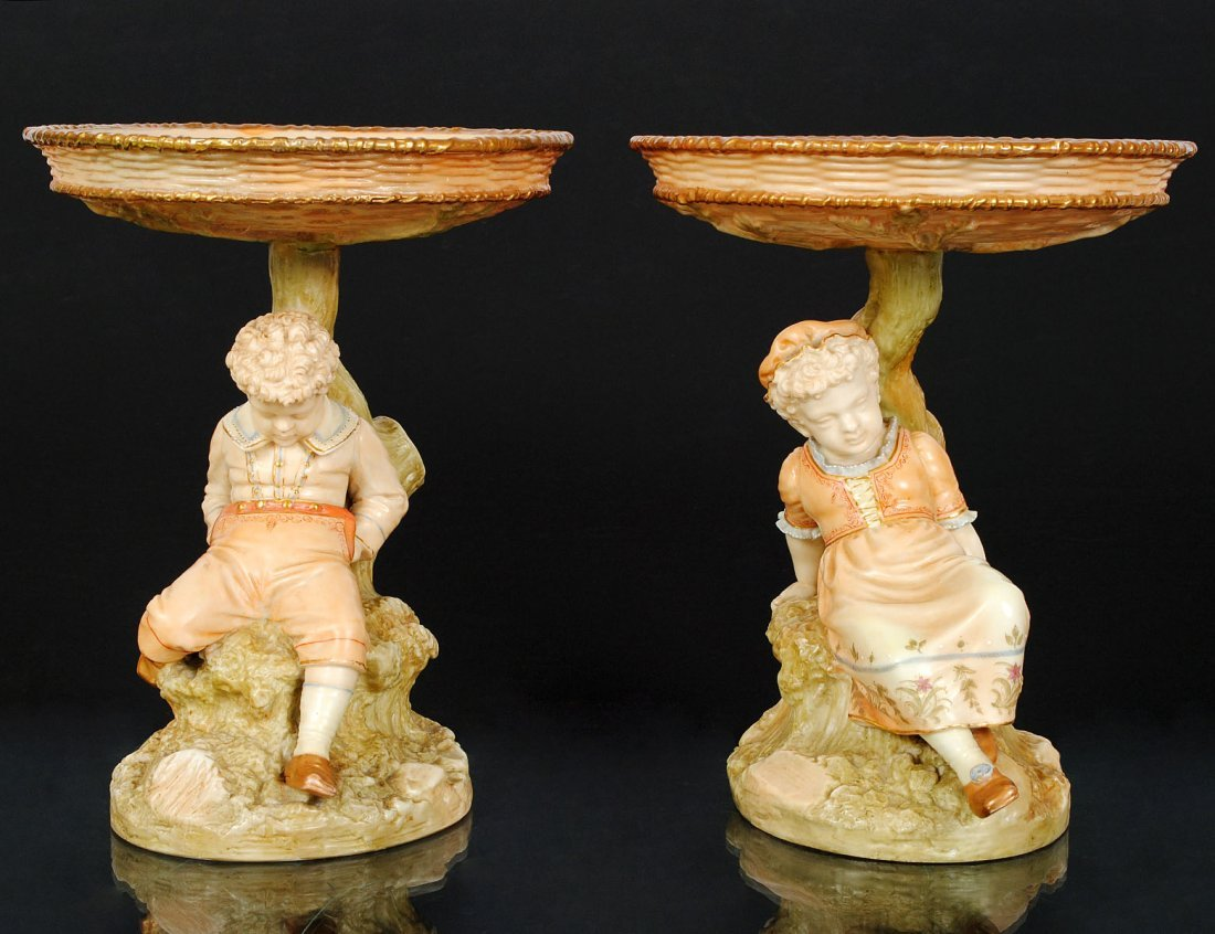 PAIR OF ROYAL WORCESTER PORCELAIN TAZZAS