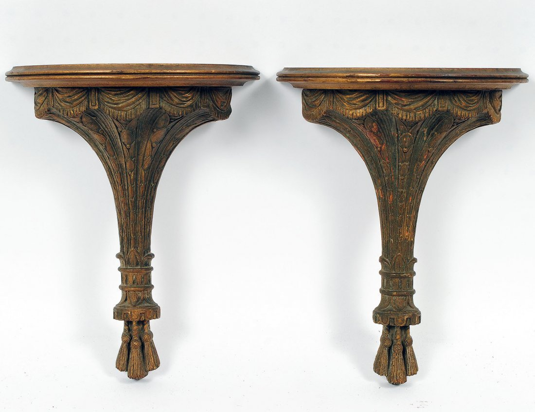 PAIR OF WOOD AND COMPOSITION BRACKETS