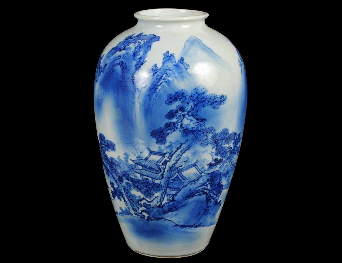 BLUE AND WHITE ARITA PORCELAIN VASE