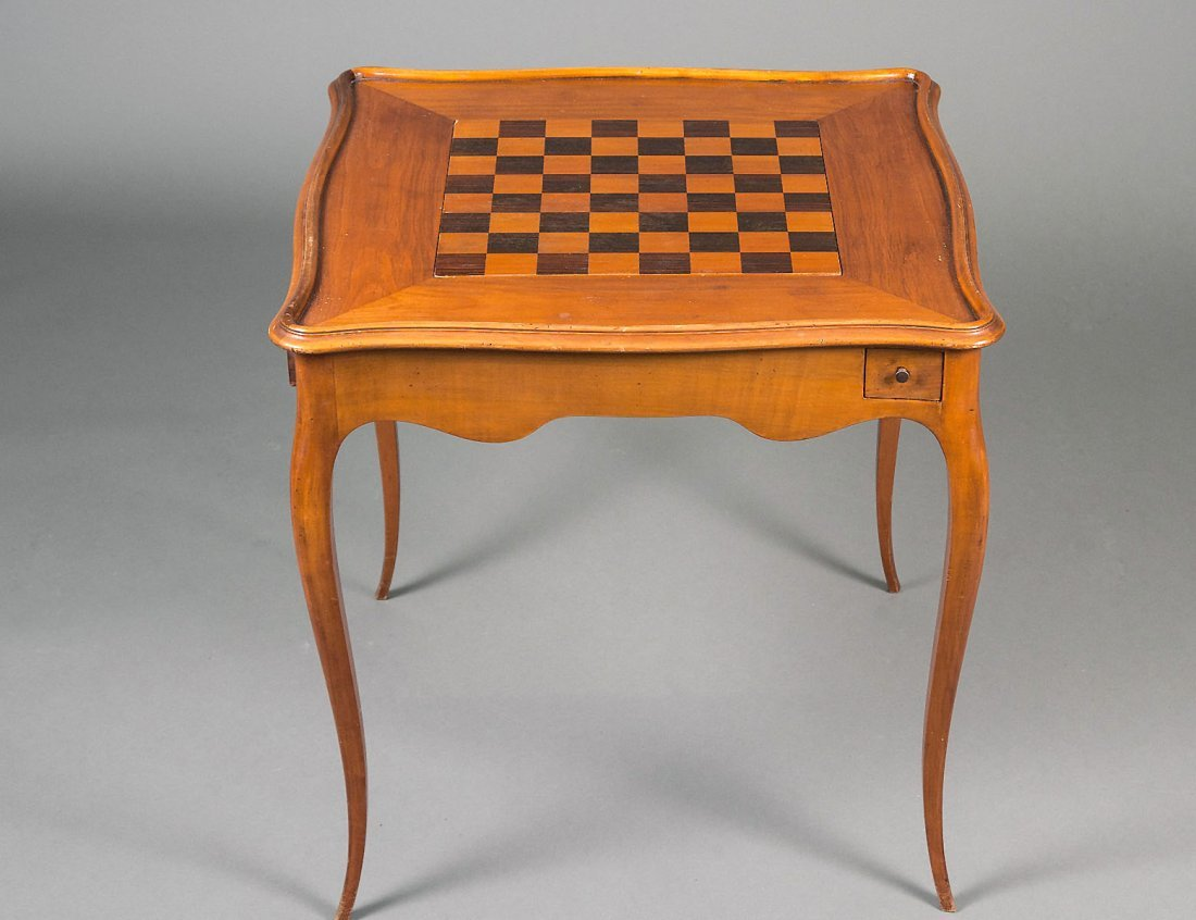 INLAID FRUITWOOD TRIC TRAC TABLE