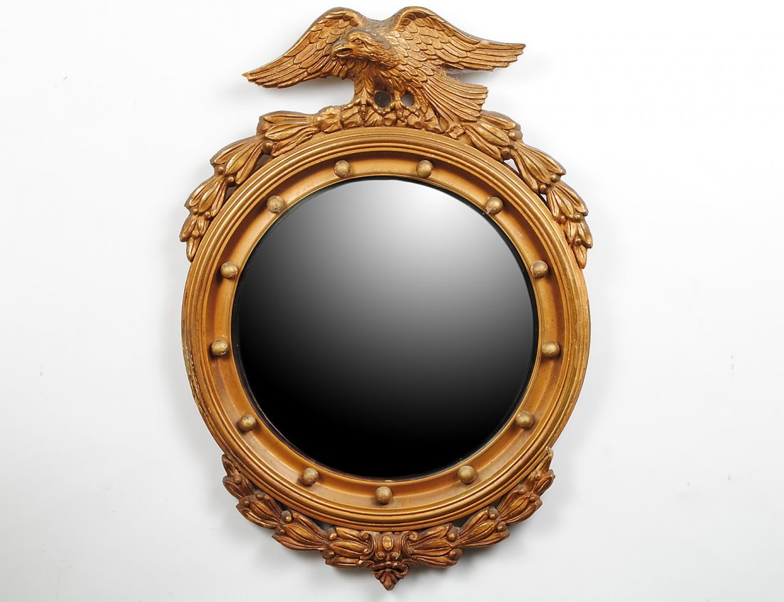 CHIPPENDALE STYLE CARVED AND GILTWOOD CONVEX MIRROR