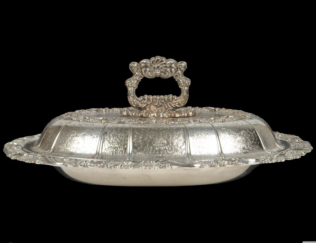 VICTORIAN STYLE SILVER PLATED ENTREE DISH AND COVER