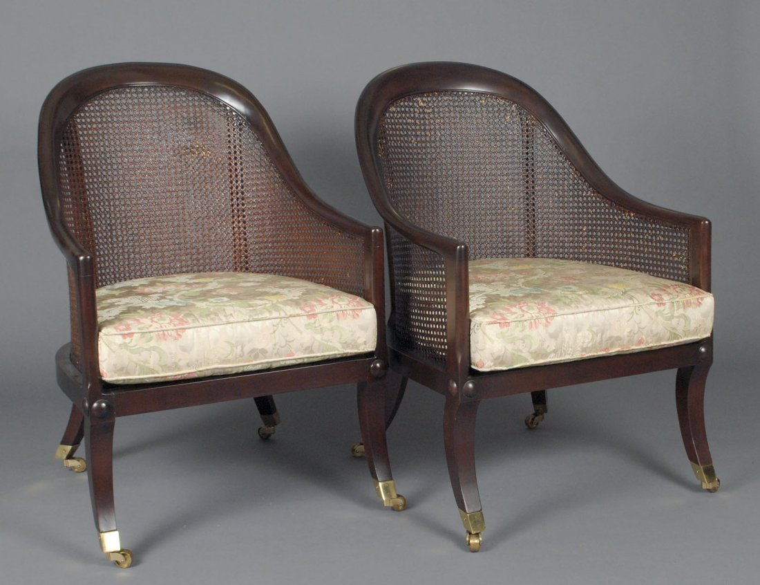 PAIR OF STAINED WOOD AND CANE TUB CHAIRS