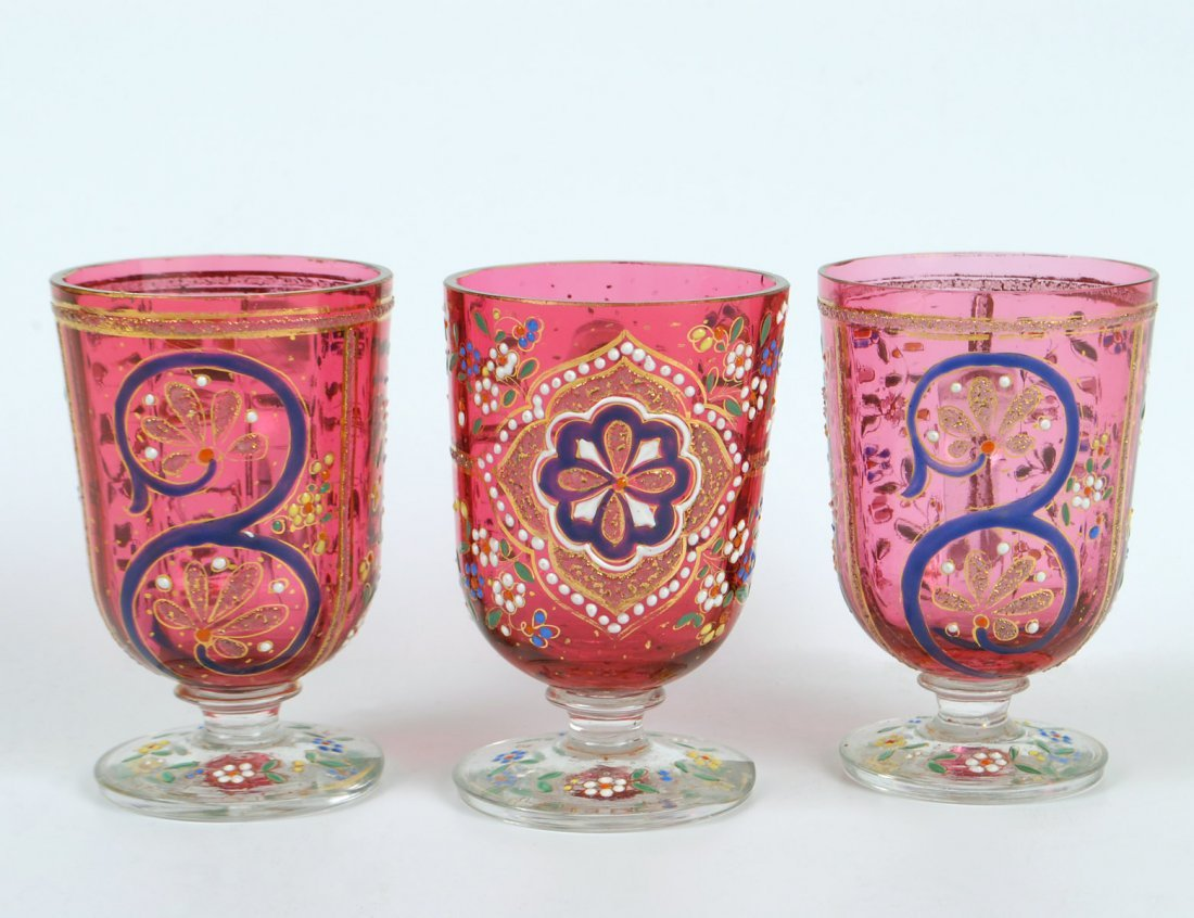 SET OF THREE MOSER RUBY GLASSES