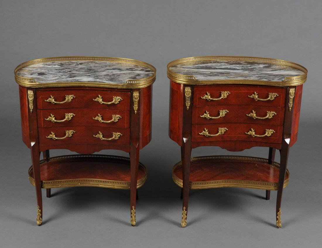 PAIR OF LOUIS XV STYLE MAHOGANY PETITE COMMODES