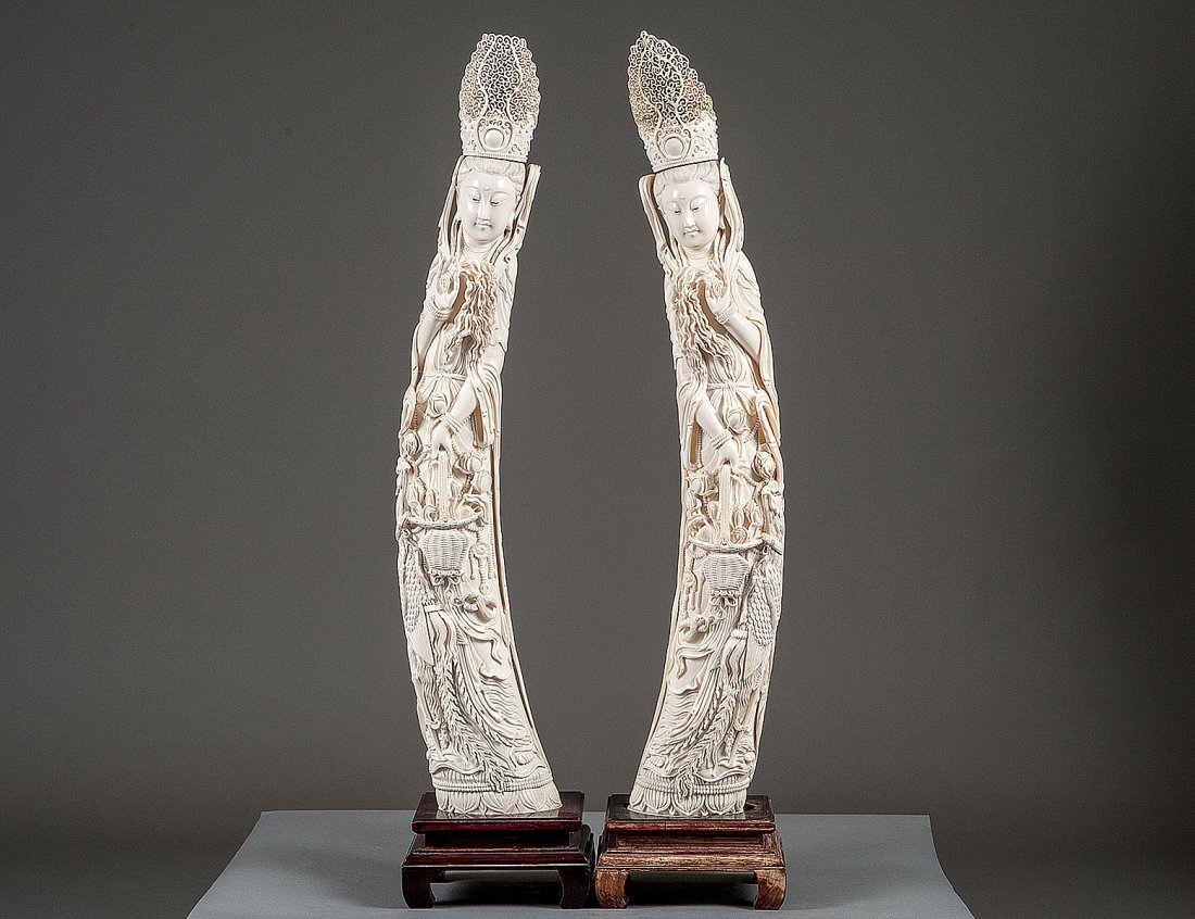 PAIR OF LARGE IVORY FIGURES OF GUANYIN