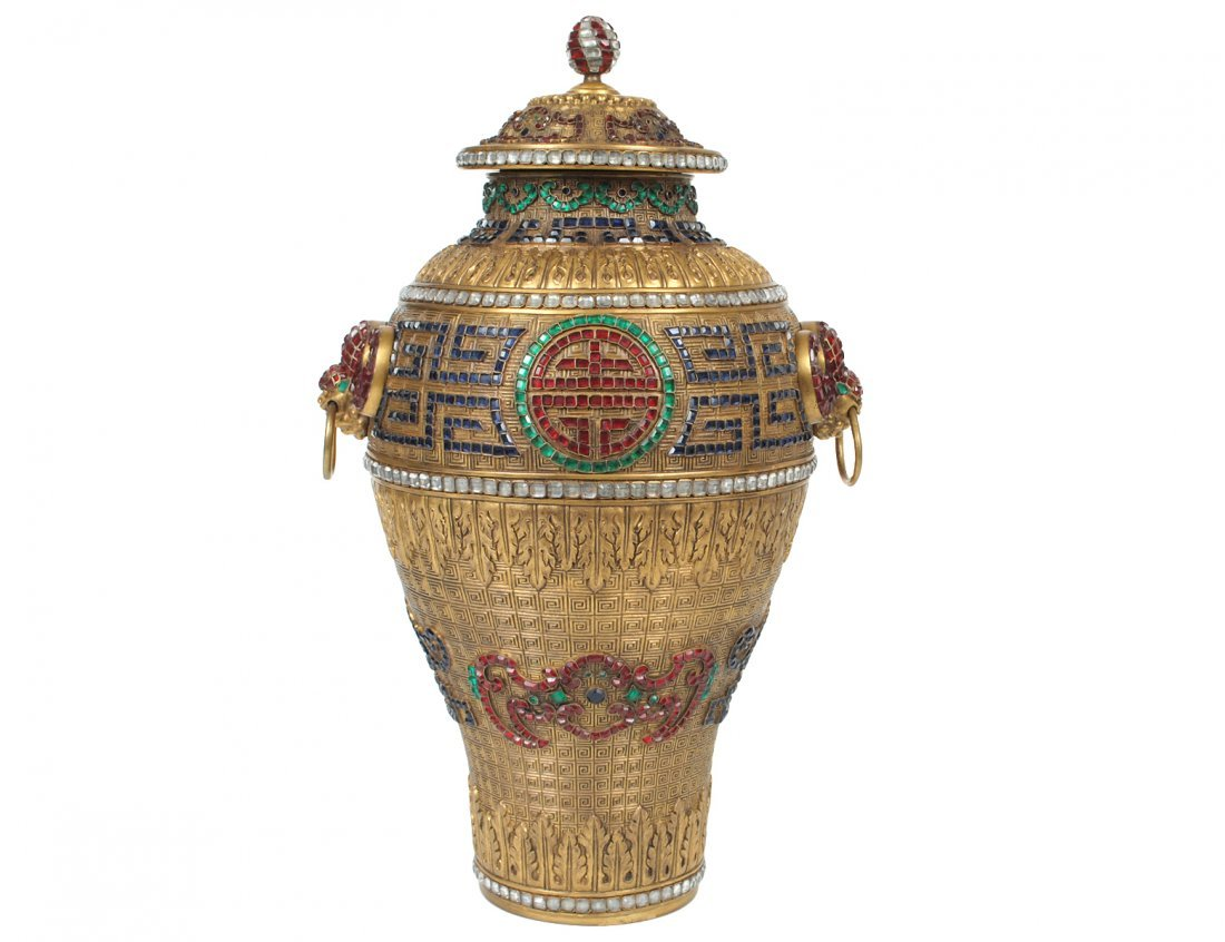 """INTERESTING """"JEWEL ENCRUSTED BRONZE VASE AND COVER"""