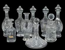 GROUP OF FIVE WATERFORD CRYSTAL DECANTERS