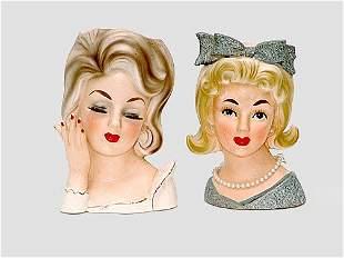 Two (2) Ladies Head Vases. One Sign Relpo