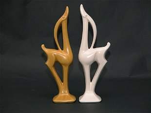 Pair of Art Deco Ceramic Gazelle Figures.