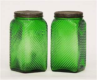 Pair Art Deco Signed Glass Jars Unusual