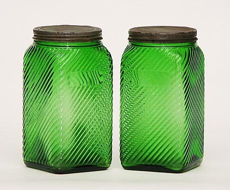 8: Pair Art Deco Signed Glass Jars Unusual
