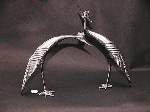 11: Two (2) Metal Art Deco Stylized Egret Fig