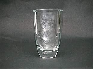 Norwegian Clr Crystal Art Glass Deco Vase