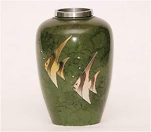 Heintz Style Art Deco Flavor. Green Vase