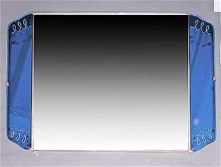 Art Deco Mirror Blue Rectangular