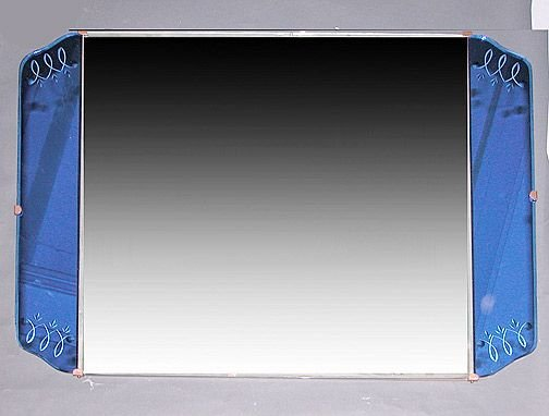 21A: Art Deco Mirror Blue Rectangular