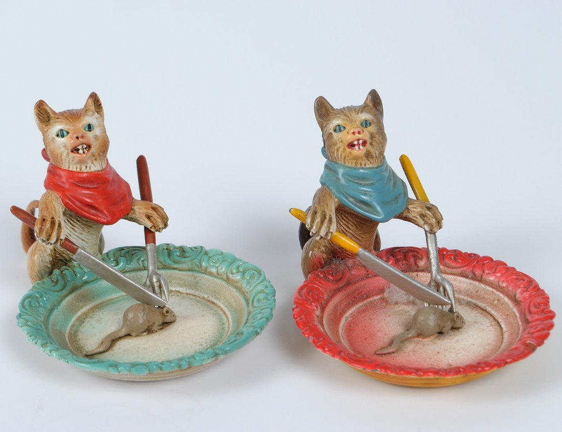 TWO COLD PAINTED VIENNA BRONZE CATS