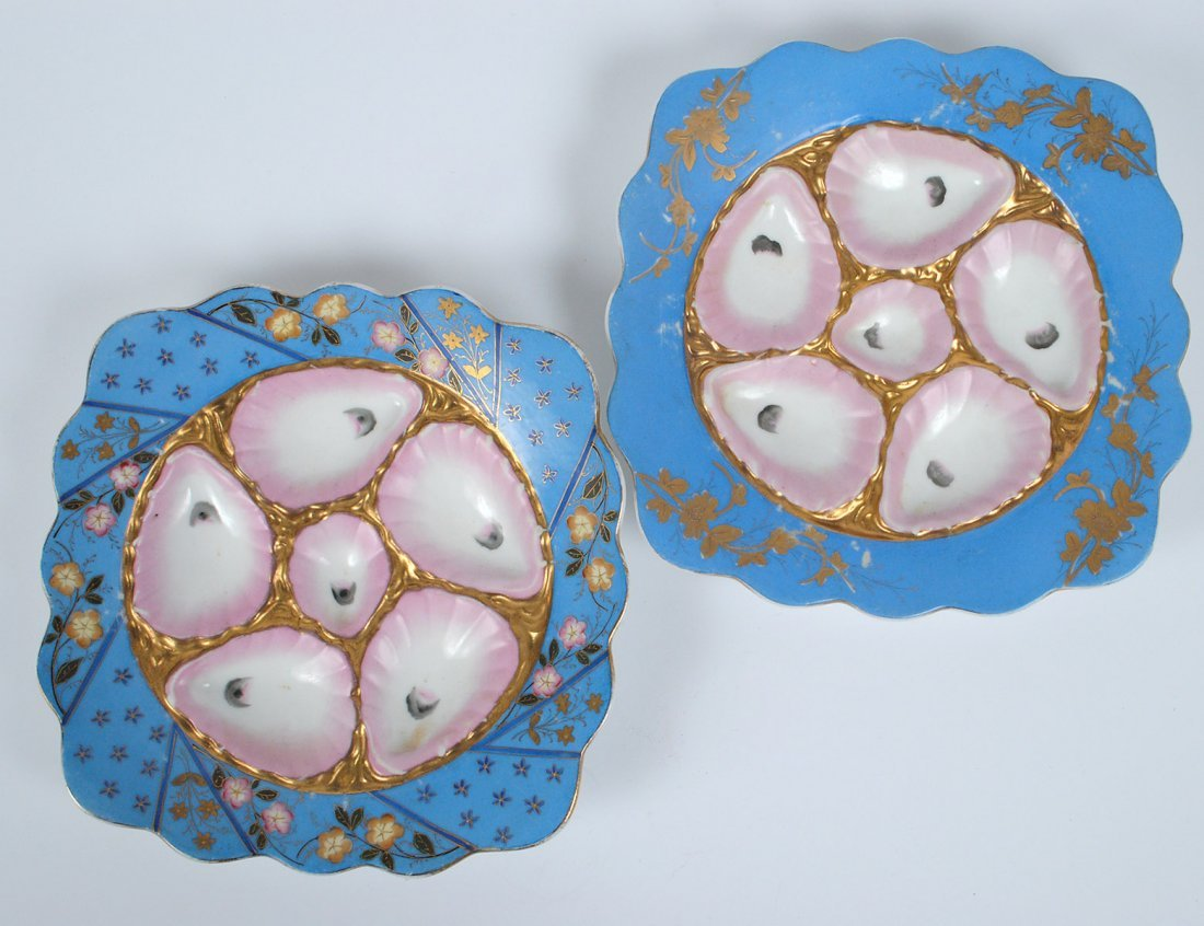TWO CARLSBAD PORCELAIN OYSTER PLATES