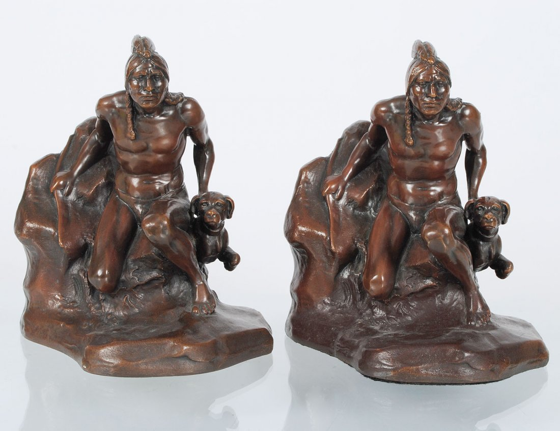 PAIR OF PATINATED METAL BOOKENDS