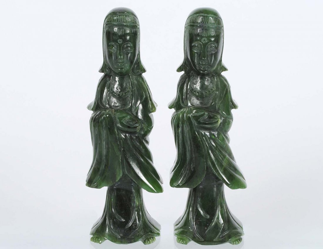 PAIR OF SPINACH JADE FIGURES OF FEMALES