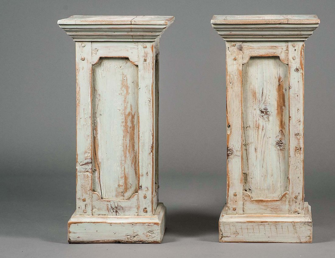 PAIR OF BLEACHED AND PAINTED PEDESTALS