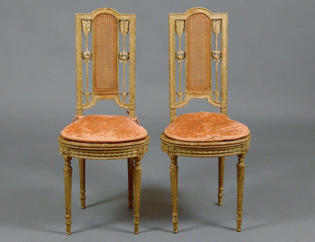 PAIR OF LOUIS XVI STYLE CARVED AND GILTWOOD SIDE CHAIRS