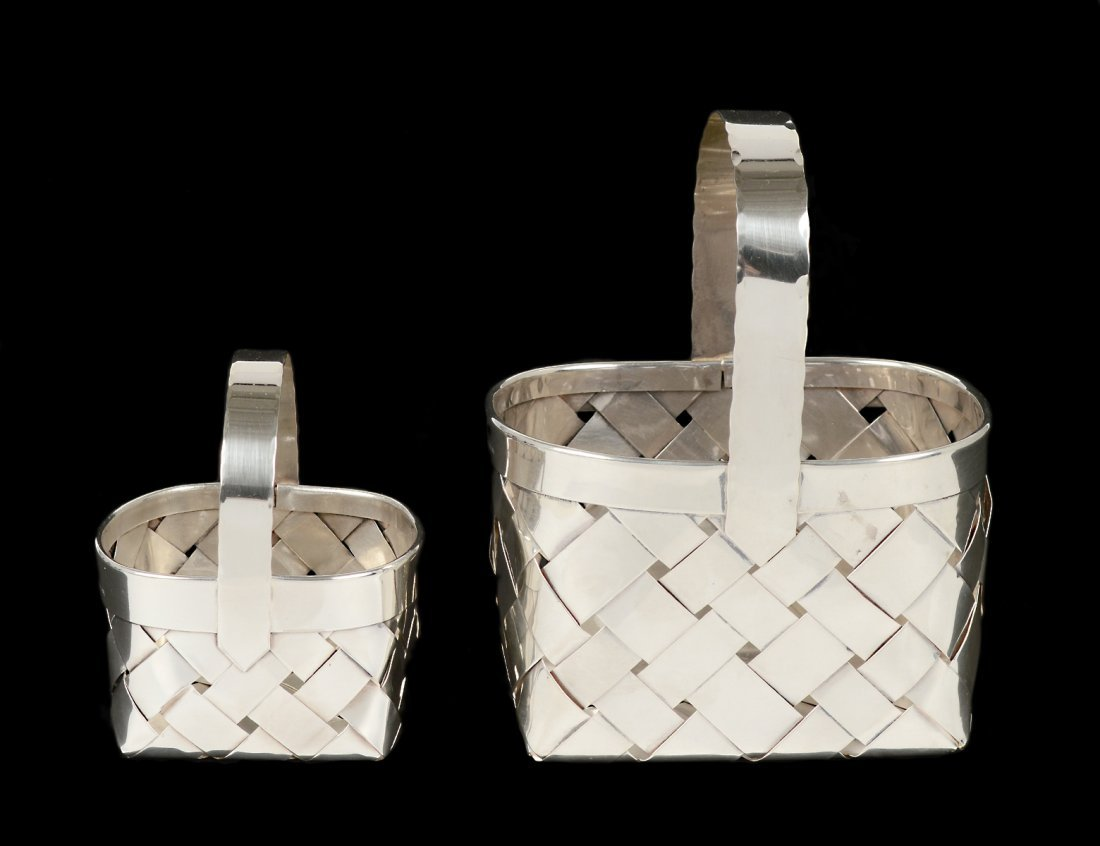 TWO CARTIER STERLING SILVER WOVEN BASKETS