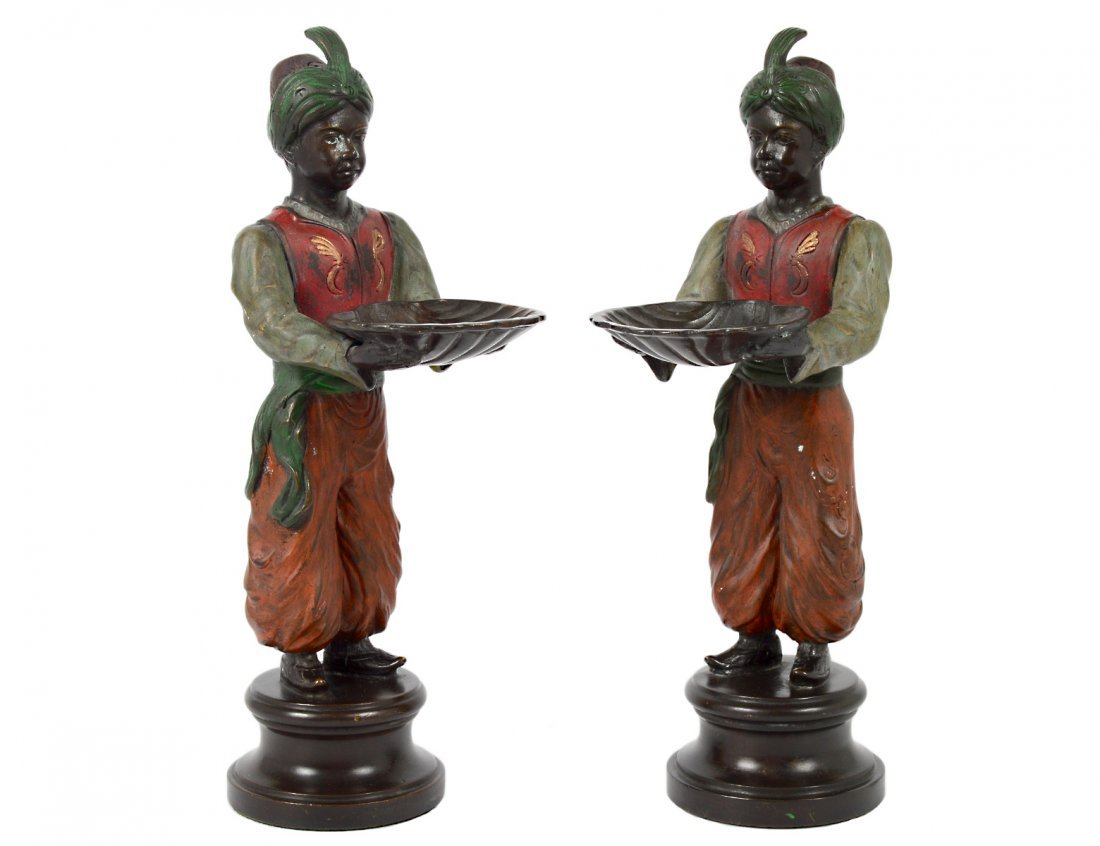 PAIR OF POLYCHROMED METAL FIGURES OF OTTOMANS