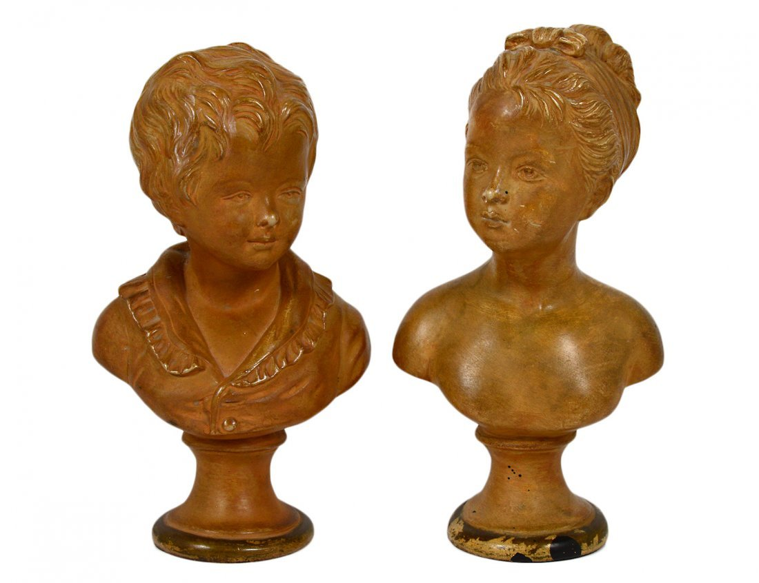 PAIR OF TERRA COTTA BUSTS F CHILDREN