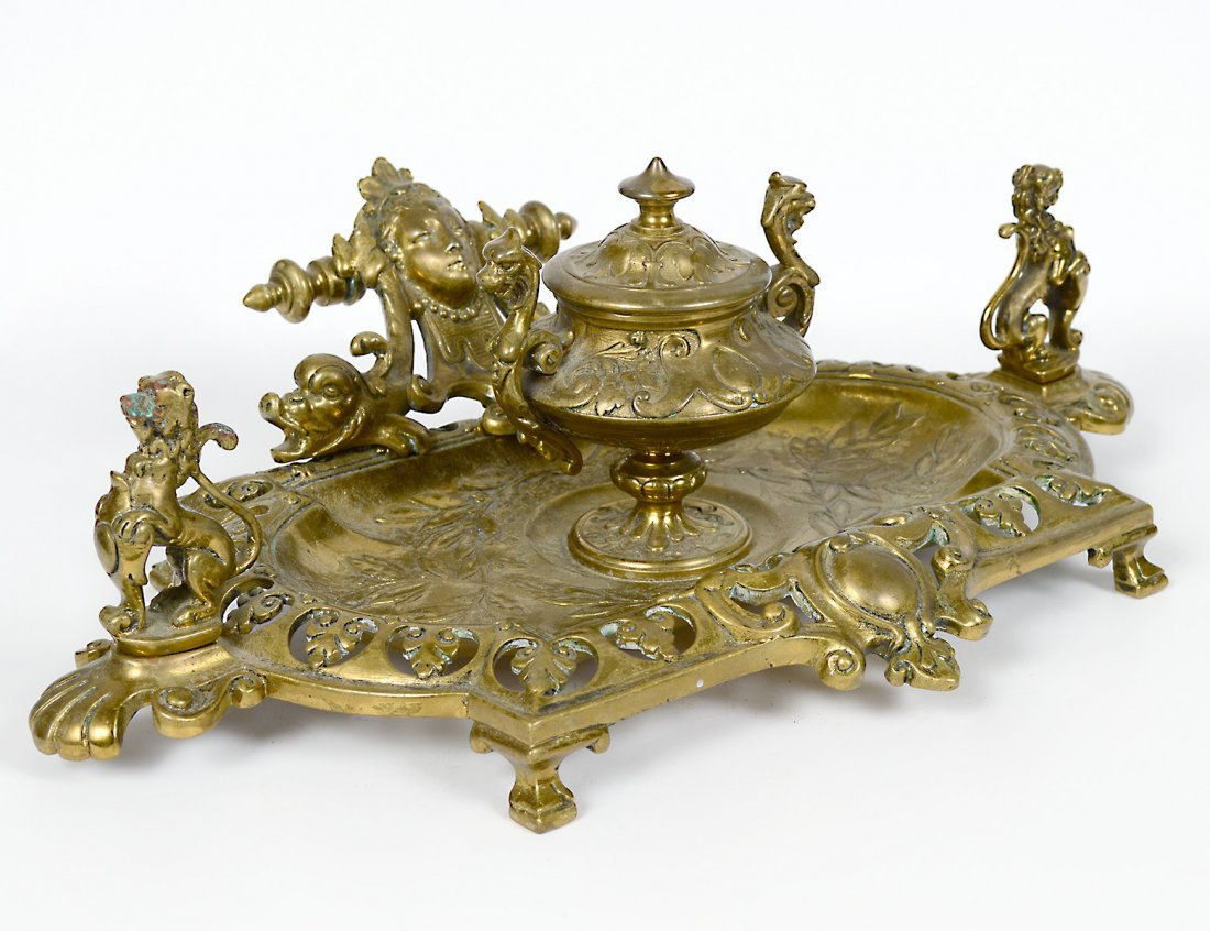 CONTINENTAL GILT BRONZE INKWELL