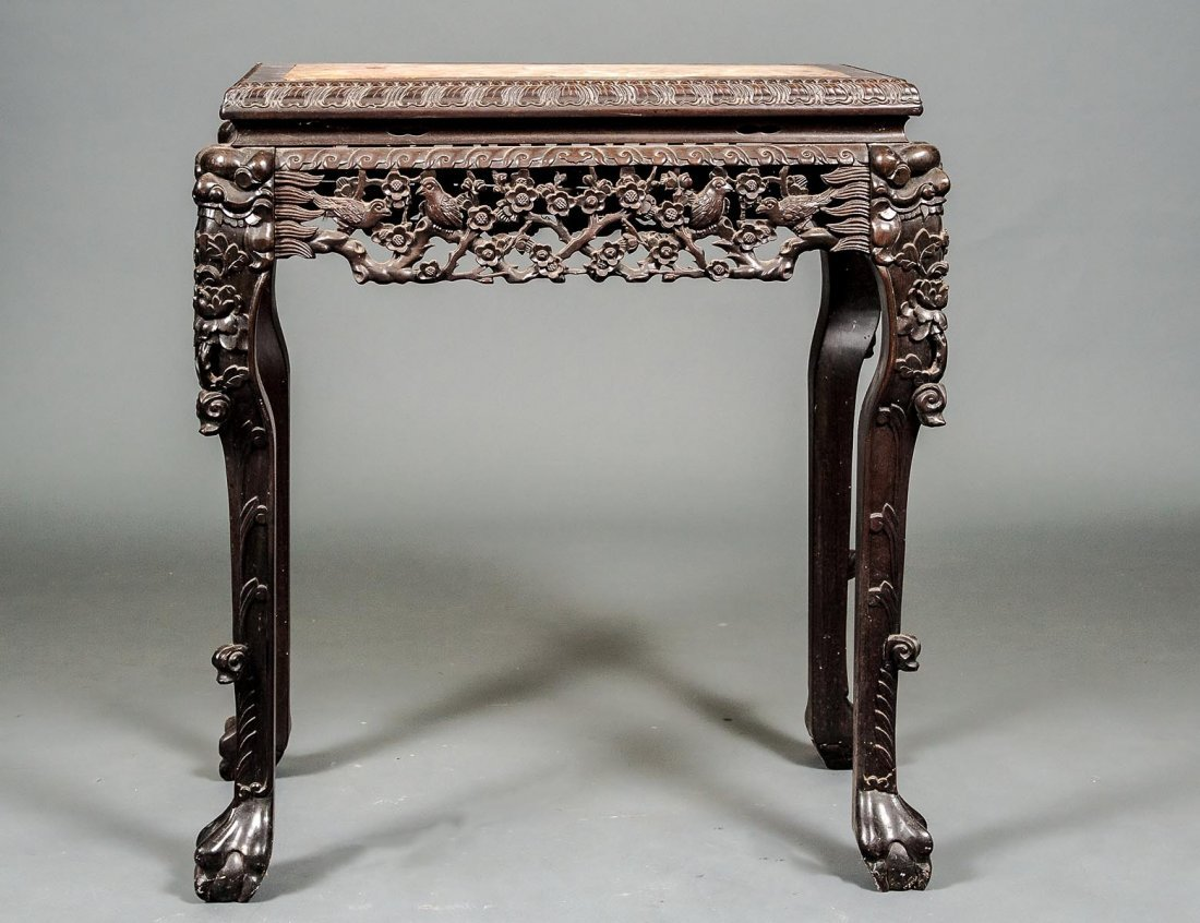 CARVED HARDWOOD SIDE TABLE