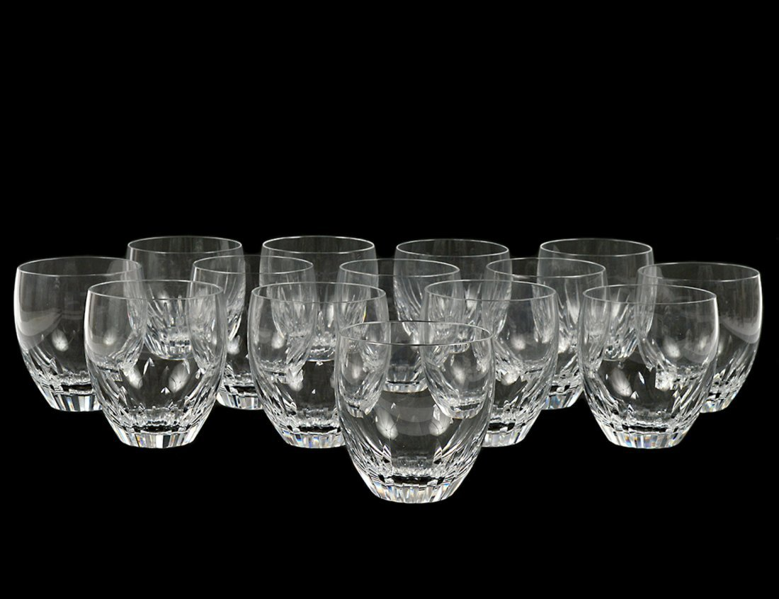 SET OF FOURTEEN BACCARAT CRYSTAL OLD FASHIONED GLASSES