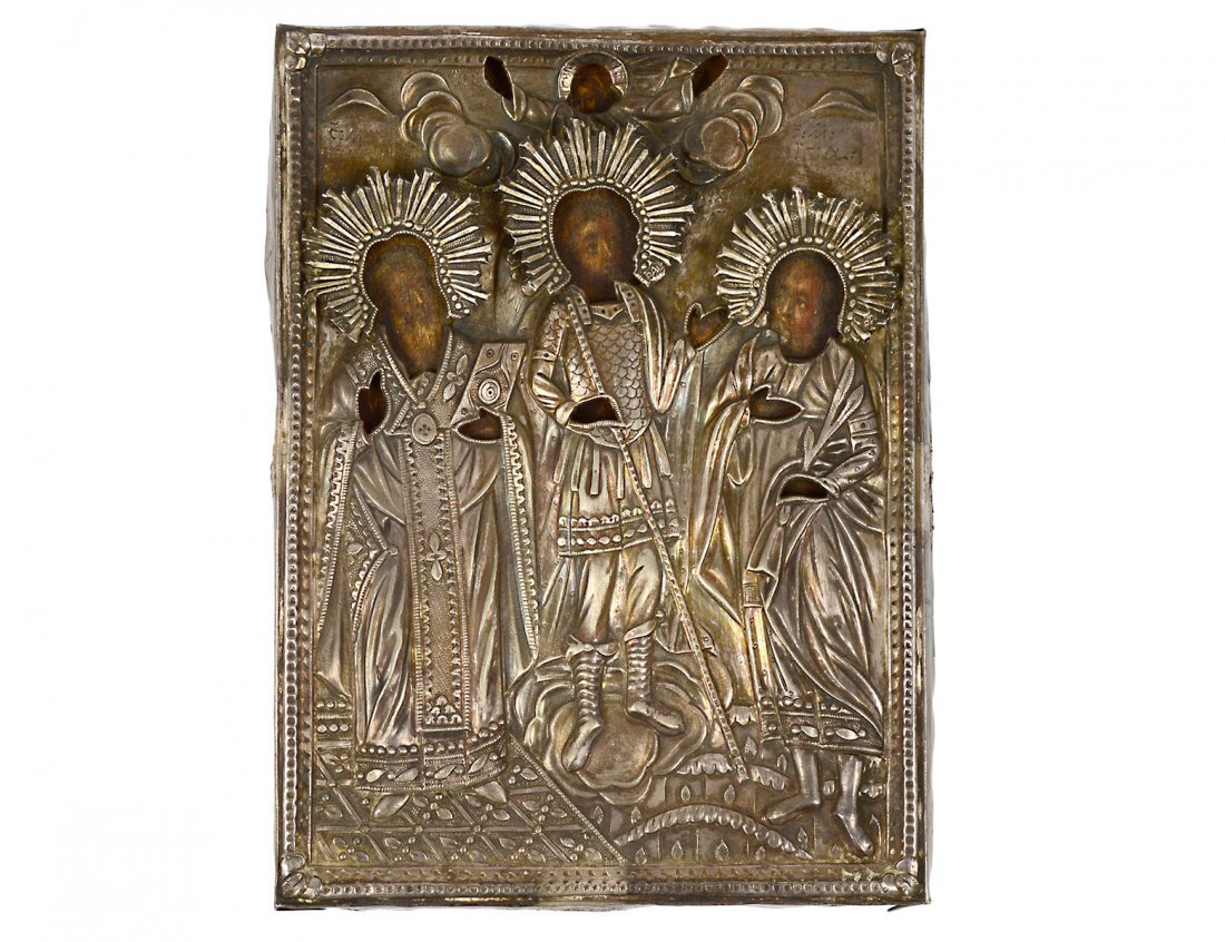 SILVER OKHLAD ICON OF THREE SAINTS