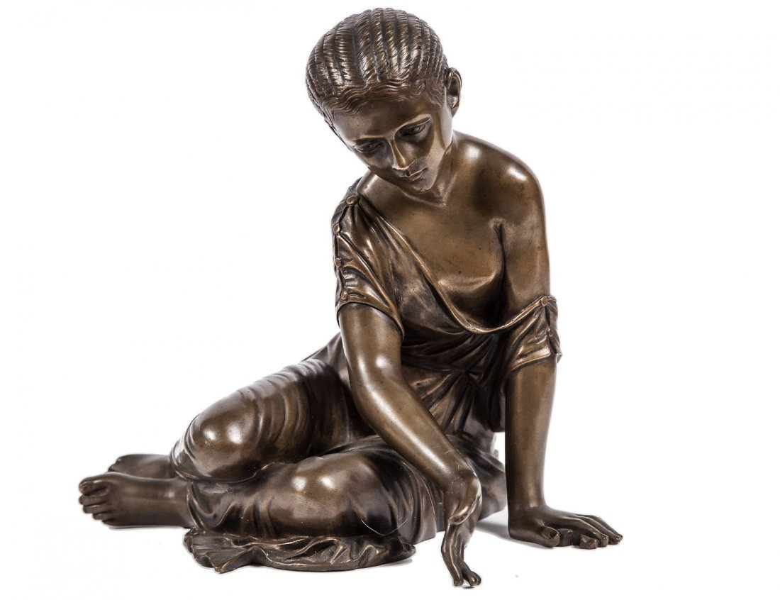 NATURAL BRONZE FIGURE OF A SEATED GIRL
