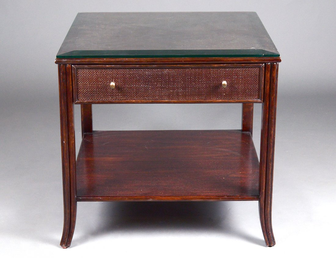 McGUIRE OAK AND WICKER LAMP TABLE